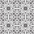 White lace pattern on black background seamless Royalty Free Stock Images