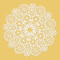 White lace serviette on yellow background Stock Photography