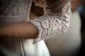 White lace sleeve girl handmade wedding dress