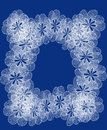 White lacy frame of blue and lace flowers Stock Images