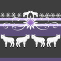 White lamb seamless border and pattern with a gray and purple background Stock Images