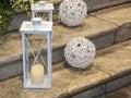 White lanterns on the pavement wedding decoration Royalty Free Stock Image