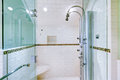 White large luxury bathroom walk in shower with steam modern system Stock Photo