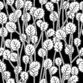 White leaves on twigs black seamless pattern Royalty Free Stock Photography