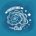 White Lettering Yachting Club Seashell