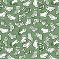 White on light green socks seamless pattern