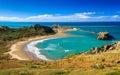 White lighthouse, location - Castlepoint, New Zealand Royalty Free Stock Photo