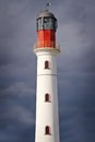 White lighthouse over dramatic sky Royalty Free Stock Photo