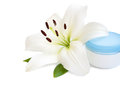 White lilly and moistening cream Stock Photo