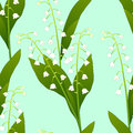 White Lily of the Valley on Green Mint Background. Vector Illustration