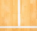 White line in hall playground. Renewal  wooden floor Royalty Free Stock Photo