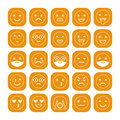 White linear flat icons of emoticons on orange background. Smile with a beard, different emotions, moods.