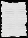 White lined paper isolated on deep black background edges are very frayed Stock Photo