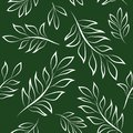 White Lines Leaves Seamless Pattern on Dark Green Background