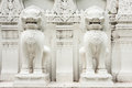 White lions sculpture bangkok thailand Royalty Free Stock Photos