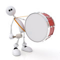 The white little man costs with a drum in hands d person goes big also beats on it Stock Image