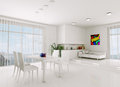 White living room d render interior of modern Stock Image