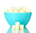White lump sugar in bowl Royalty Free Stock Photos