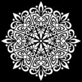 White mandala pattern on black stencil doodles sketch