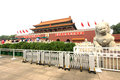 White marble stone lion and Tiananmen gate, china Stock Photography
