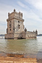 White marble tower of Belem Stock Images