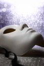White mask with glittering background Royalty Free Stock Photo