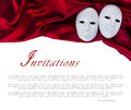 White masks two over satin Royalty Free Stock Photo
