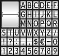 White mechanical scoreboard alphabet flip board font with letters punctuation marks and numbers on black background eps file Stock Image