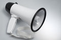 White megaphone closeup of on studio background Stock Photos