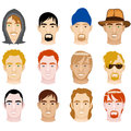 White mens faces vector illustration of different and mixed men Royalty Free Stock Photos