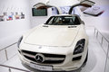 White Mercedes benz  SLS AMG Royalty Free Stock Photos