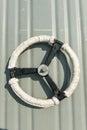White metal door wheel, taken from battle ship water tight door Stock Photography