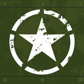White military star on green metal grungy camouflage decayed with seams and rivets Stock Photo
