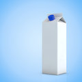 White milk carton empty package in front of blue background Royalty Free Stock Photos