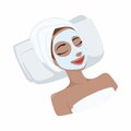 White Milk Natural Mask on Beautiful Woman Face, Illustration Vector Design