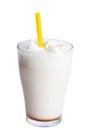 White milkshake with straw sweet cream isolated Royalty Free Stock Photo