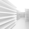 White Minimal Interior Design. 3d Illustration of Futuristic Bui