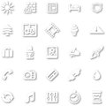 White minimalist icon set a style cutout with drop shadows for all your web and app needs Royalty Free Stock Images