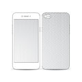 White mobile smartphone with an example of the screen and cover design isolated on white background abstract colorful polygonal Stock Image