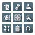 White monochrome various gambling icons collection
