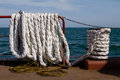 White mooring rope Royalty Free Stock Photo