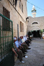 The white mosque in nazareth israel june muslim men visit at on june it s oldest and example of ottoman Royalty Free Stock Image