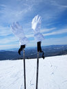 White mountain skier gloves sheregesh russia Stock Photography