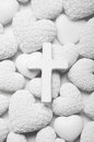 White mourning or condolence background with cross and hearts greeting card love Royalty Free Stock Photo