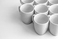 White mugs beautiful group of over glossy surface Royalty Free Stock Photography