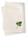White napkin on background with leaf parsley Royalty Free Stock Image