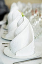 White napkin in restaurant banquet party Royalty Free Stock Photography