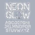 White Neon Glow alphabet Royalty Free Stock Photo