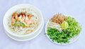 White noodle with seafood and vegetables Royalty Free Stock Photo