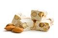 White nougat with almonds Royalty Free Stock Photo